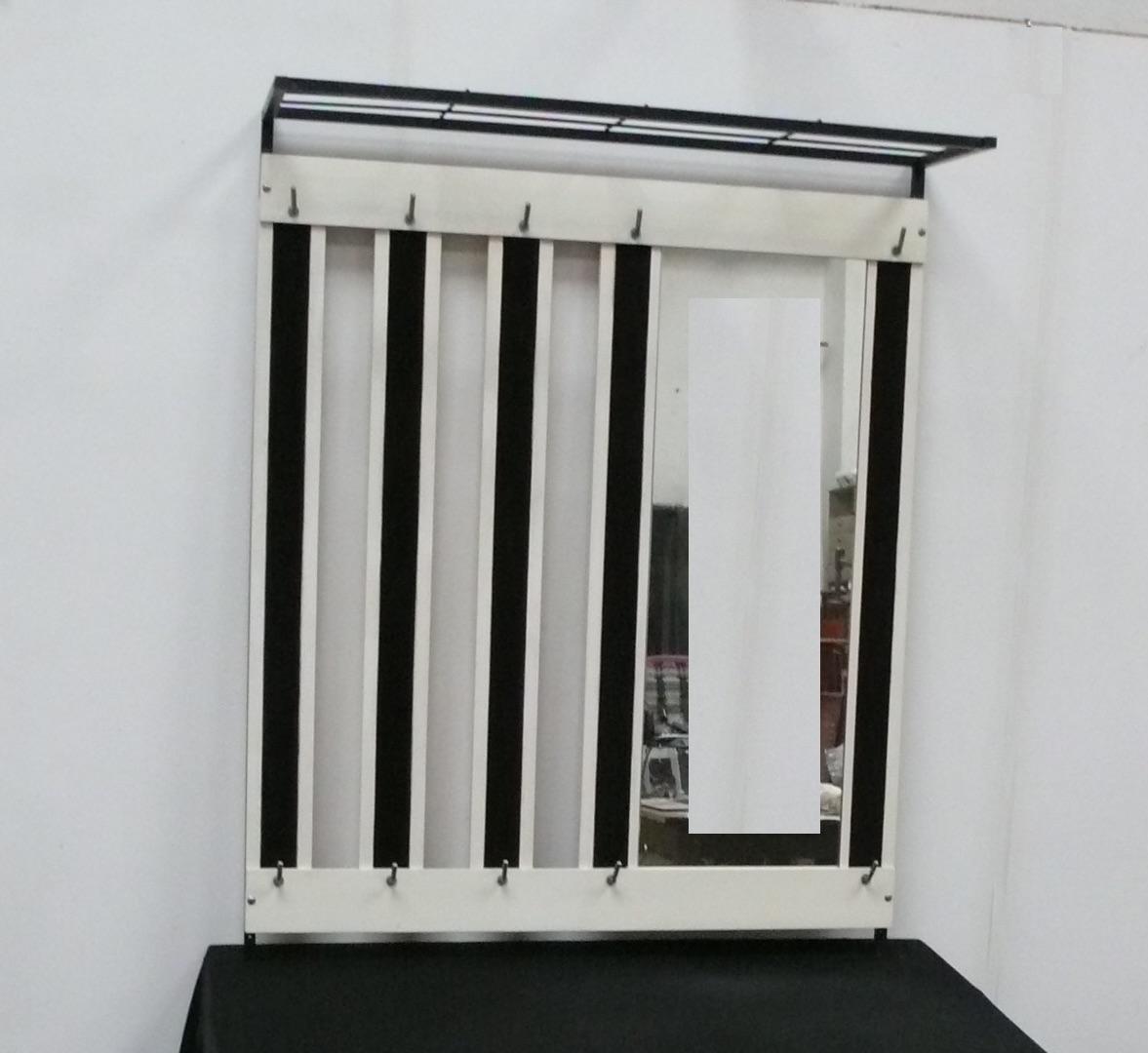 50er 60er Wand Garderobe mit Hutablage + Spiegel, weiß + weinrot 2
