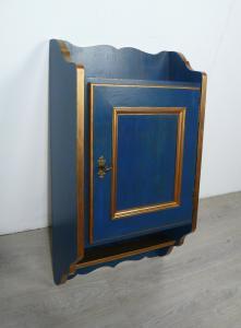 Alter Hängeschrank 1türig Gewürzschrank etc. shabby Blau + Kupfer
