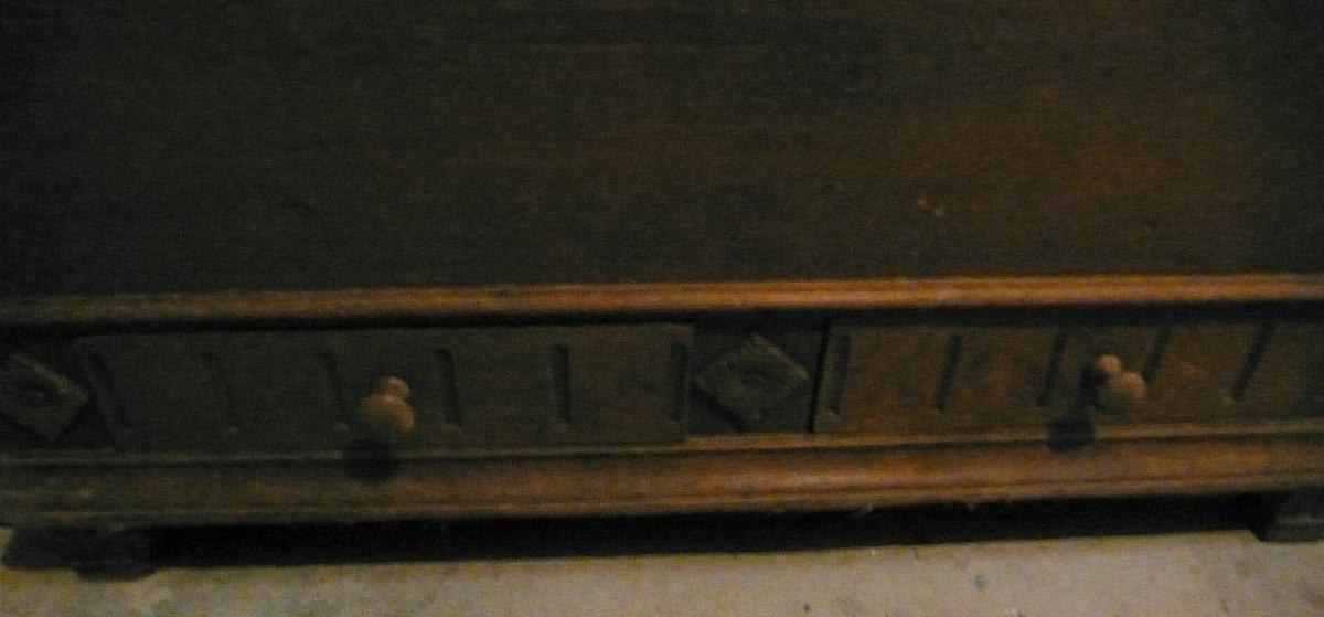 Antike Truhe Aussteuertruhe sehr groß, Eiche mit 2 Schubladen, original Zustand von ca. 1880 oder älter 3
