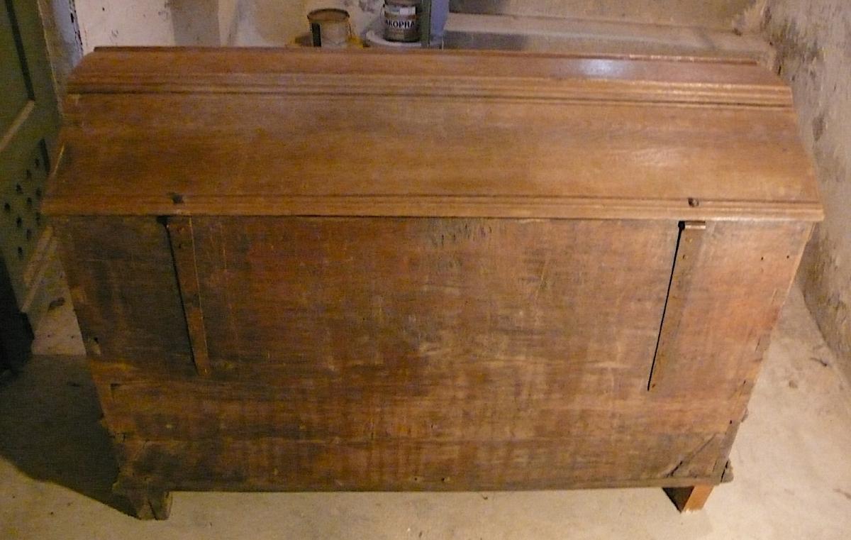 Antike Truhe Aussteuertruhe sehr groß, Eiche mit 2 Schubladen, original Zustand von ca. 1880 oder älter 5