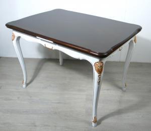 Alter Esstisch ausziehbar Chippendale Stil, Nußbaum dunkel + Weiß mit Kupfer Akzenten