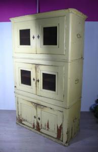 Antiker Stapelschrank Küchenschrank 3 Schrank-Elemente, shabby Beige original