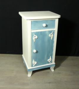 Nachttisch Kommode Shabby Weiß + Blau, um 1910 Gründerzeit