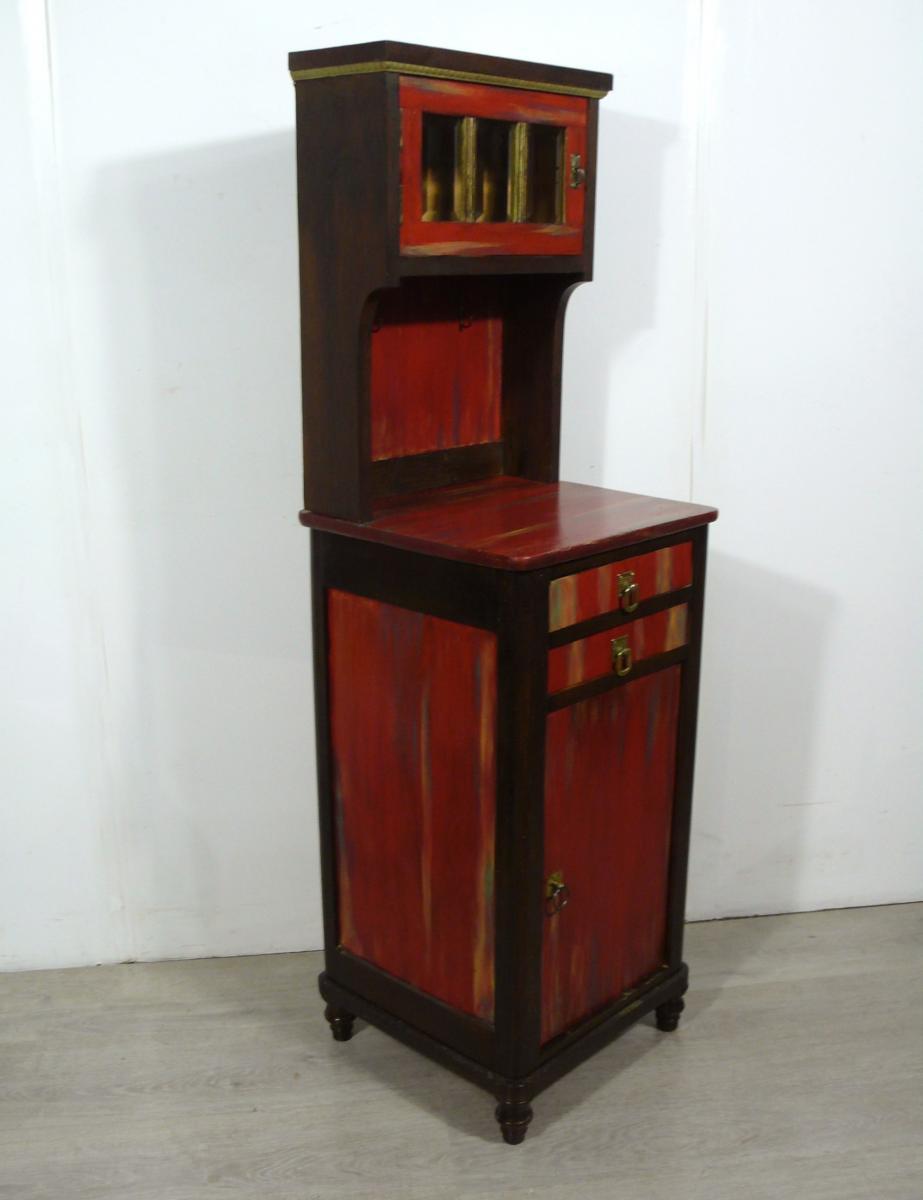 Flurschrank Konsolentisch Nachttisch mit Aufsatz Kommode shabby rot + Nußbaum dunkel handbemalt Gründerzeit um 1890 0