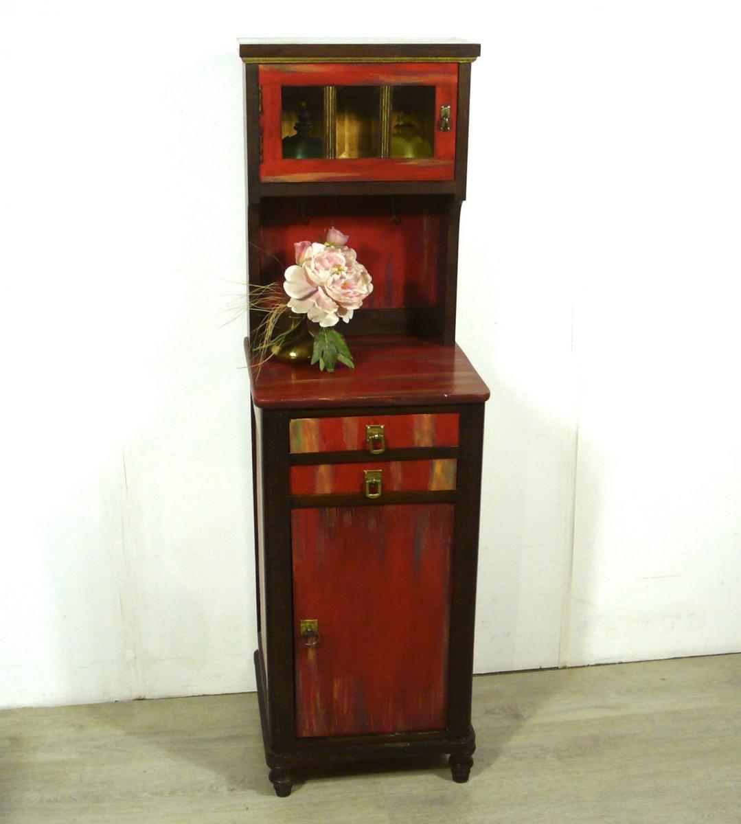 Flurschrank Konsolentisch Nachttisch mit Aufsatz Kommode shabby rot + Nußbaum dunkel handbemalt Gründerzeit um 1890 1