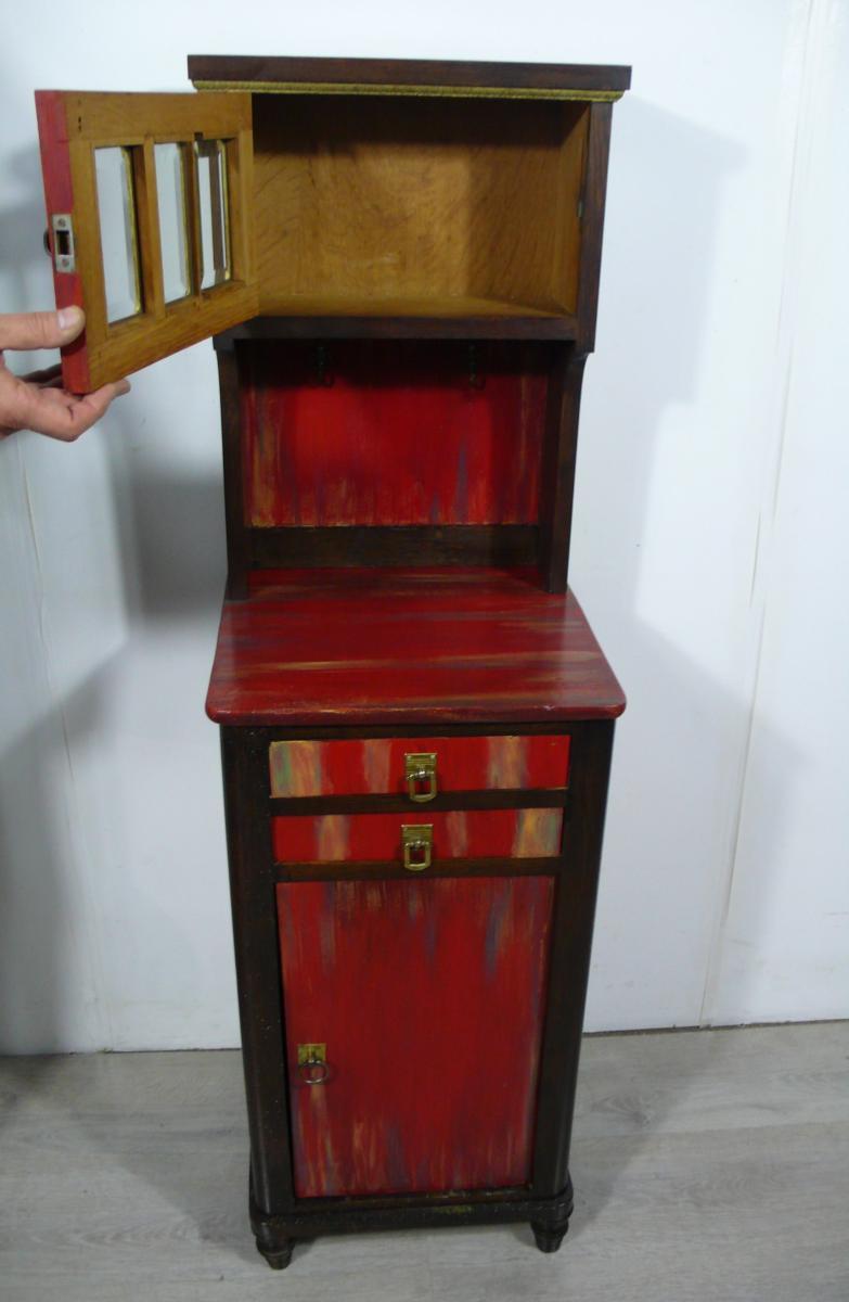 Flurschrank Konsolentisch Nachttisch mit Aufsatz Kommode shabby rot + Nußbaum dunkel handbemalt Gründerzeit um 1890 2