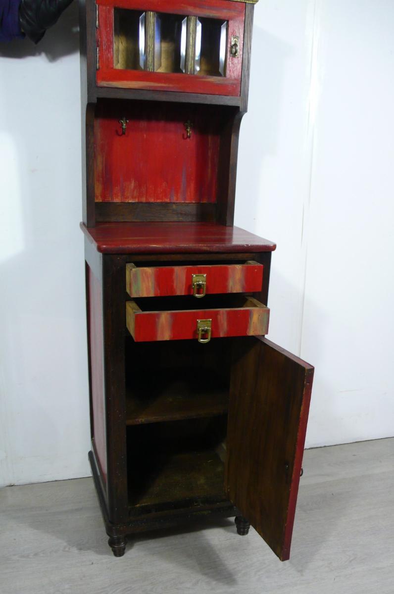 Flurschrank Konsolentisch Nachttisch mit Aufsatz Kommode shabby rot + Nußbaum dunkel handbemalt Gründerzeit um 1890 3