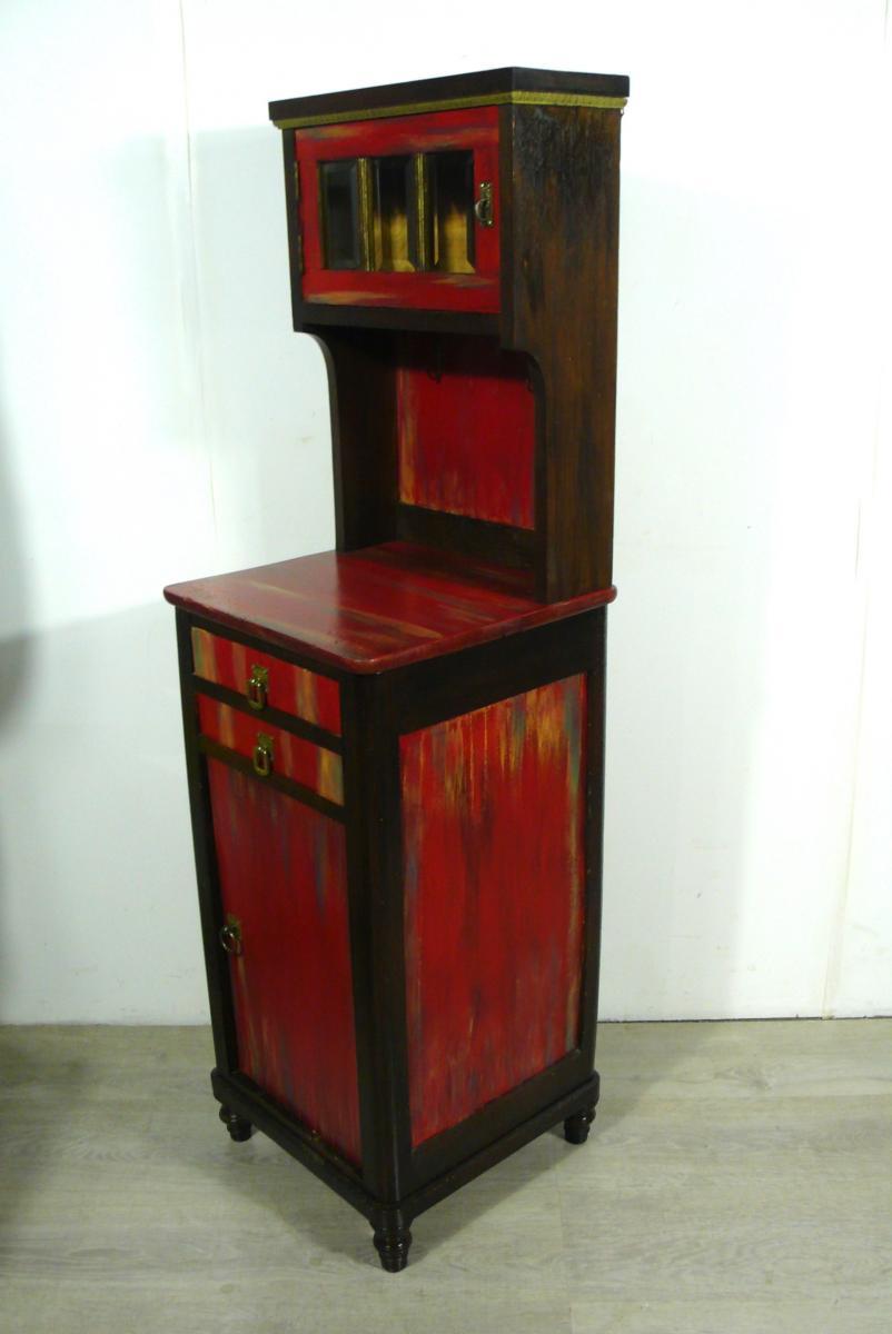 Flurschrank Konsolentisch Nachttisch mit Aufsatz Kommode shabby rot + Nußbaum dunkel handbemalt Gründerzeit um 1890 4