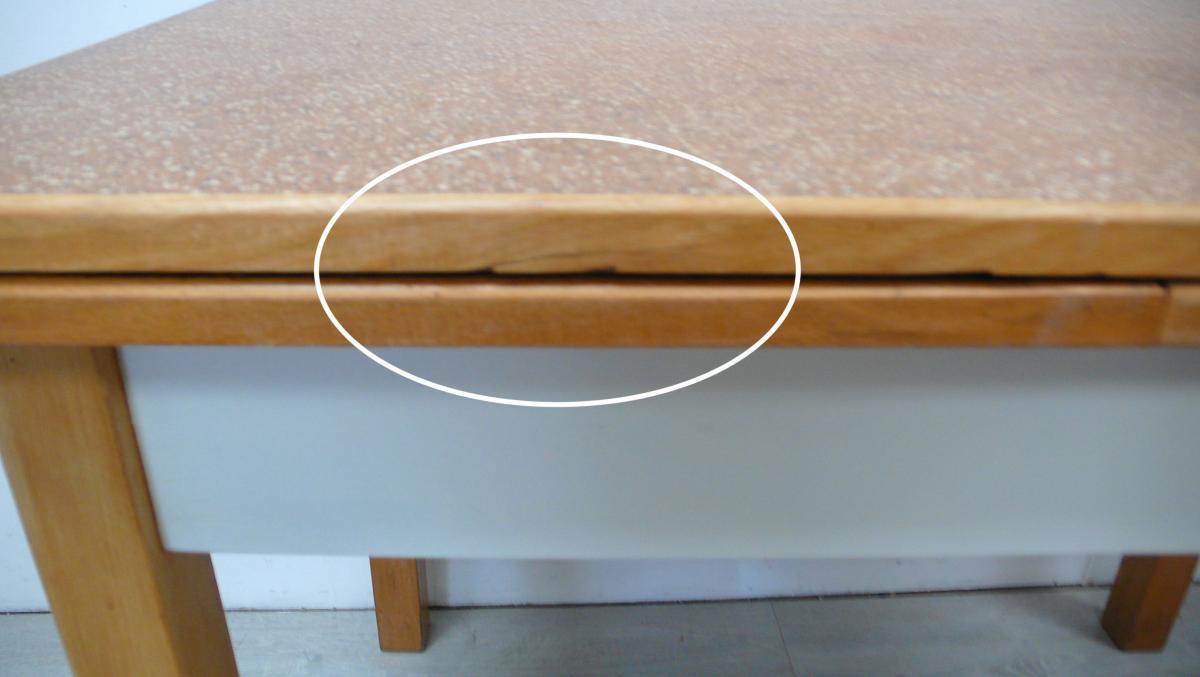 50er Omas Küchentisch ausziehbar Buche Weiß mit Schublade Vollholz 6