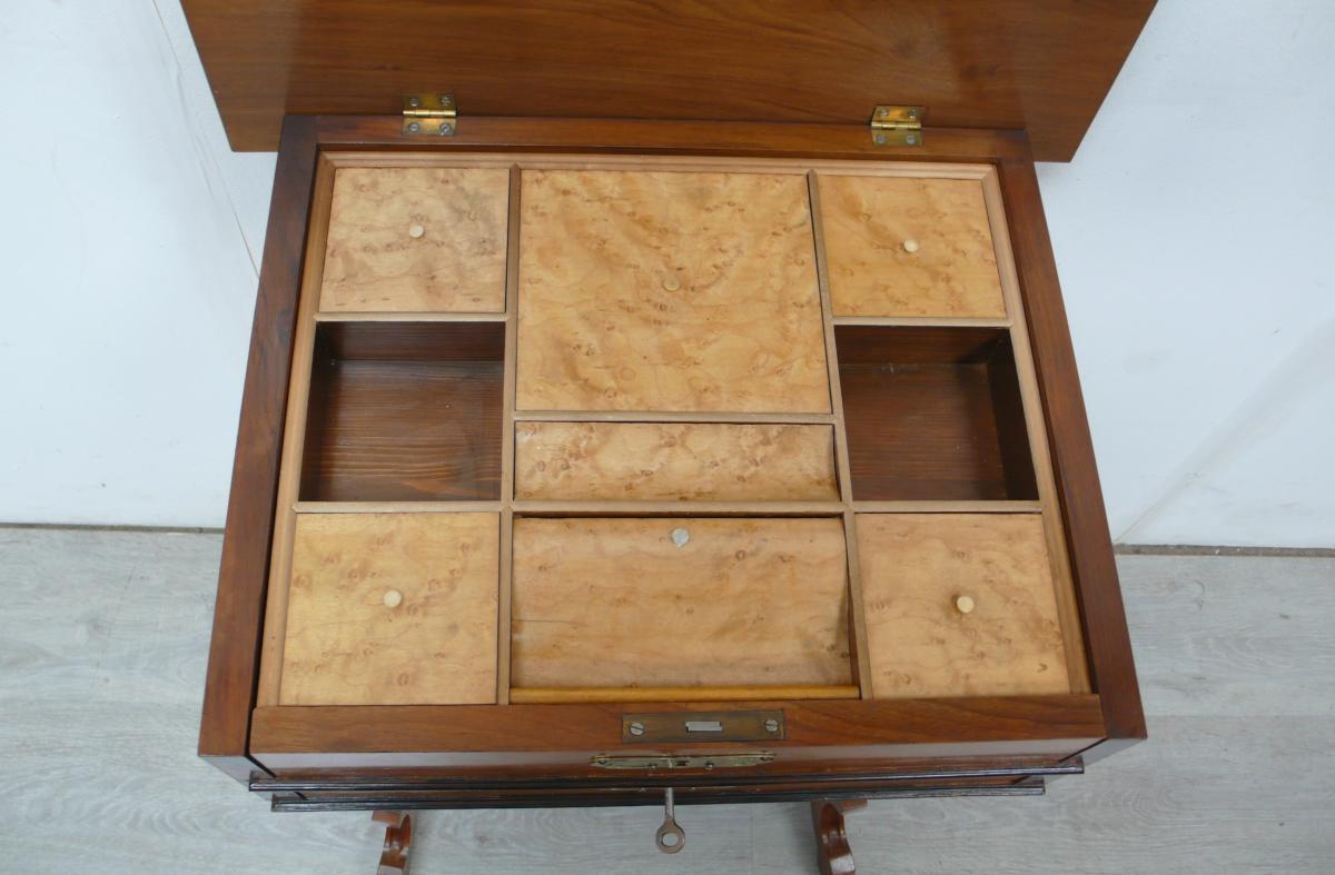 Spät Biedermeier NÄHTISCH Nähkasten 2 Schubladen, 9 Fächer innen mit Deckel um 1880 - 1900 5