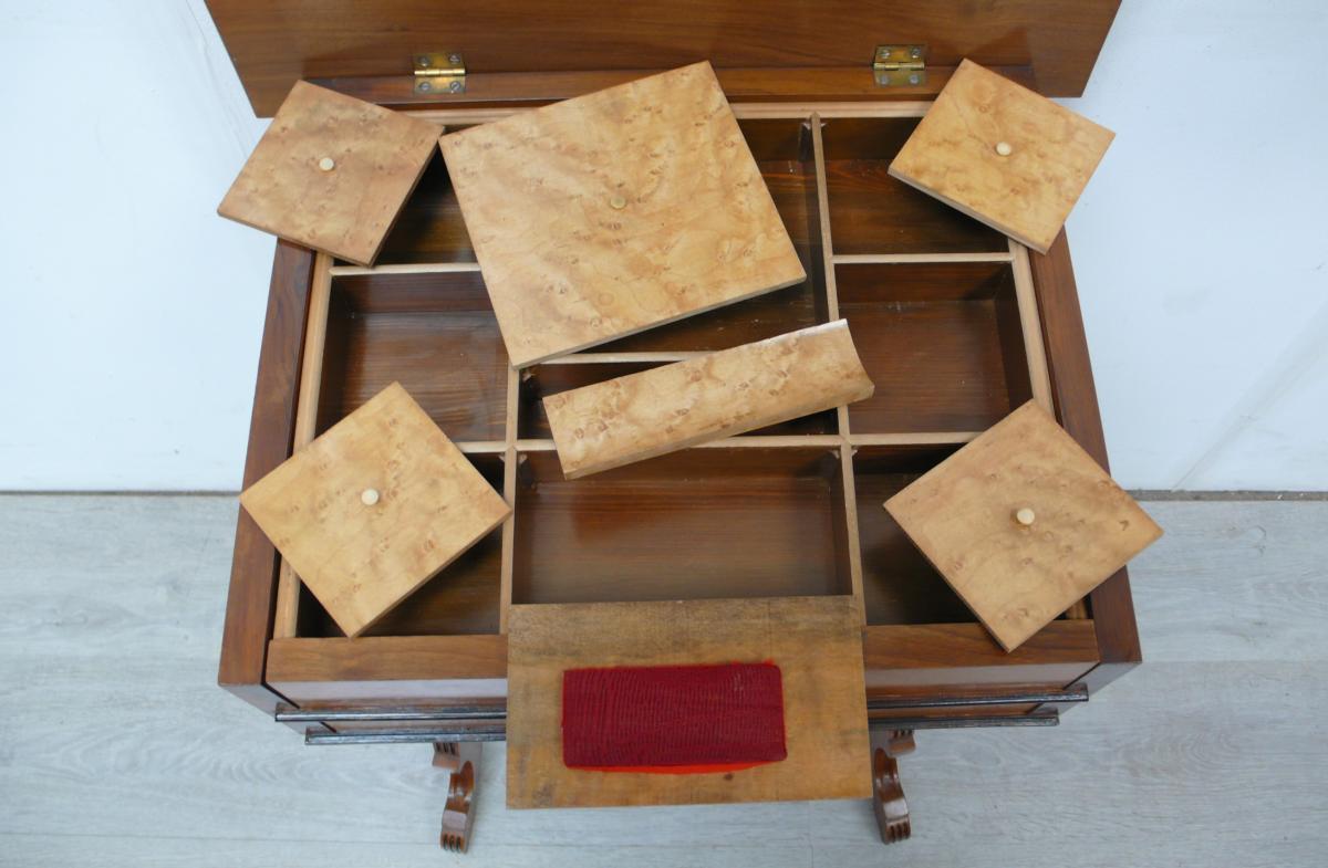 Spät Biedermeier NÄHTISCH Nähkasten 2 Schubladen, 9 Fächer innen mit Deckel um 1880 - 1900 6