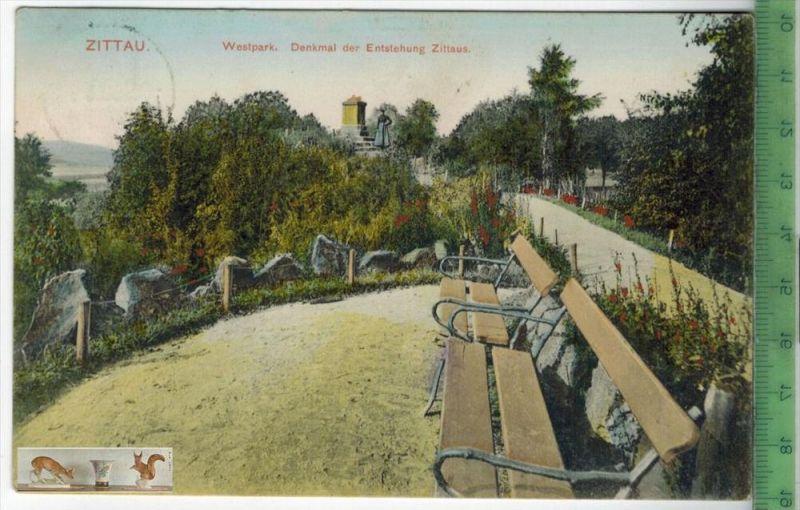 Zittau. Westpark, Denkmal der Entstehung Zittaus - 1908Verlag:hermann Seibt, Meissen,   POSTKARTEHandkol. Künstlerkarteb
