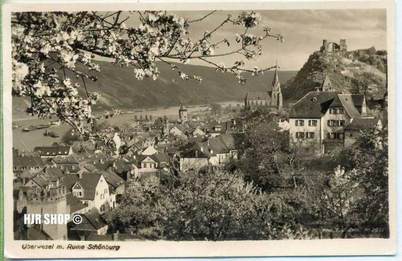 Postkarte, Oberwesel, m. Ruine Schönburg
