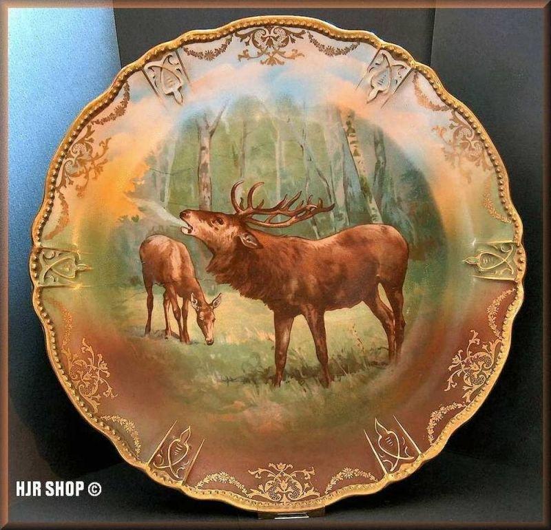 Porzellan Wand-Teller Hirsche, um 1900 Jugendstil