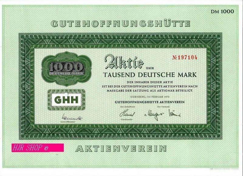 GUTEHOFFNUNGSHÜTTE, Aktie Tausend Deutsche Mark,