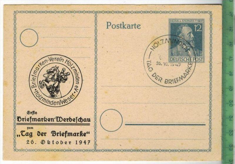 Holzminden, Tag der Briefmarke, 1947PUP. WarneckeVerlag:---------------, –  PostkarteGanzs. 12 Pfennig, Stephan, H