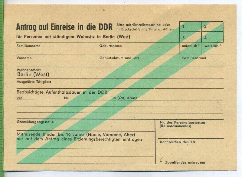 Antrag auf Einreise in die DDR Zustand: sehr Gut