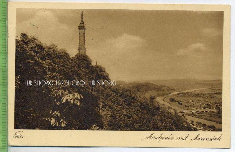 """""""Trier, Moselpartie mit Mariensäule""""   um 1930 /1940 , Postkarte"""