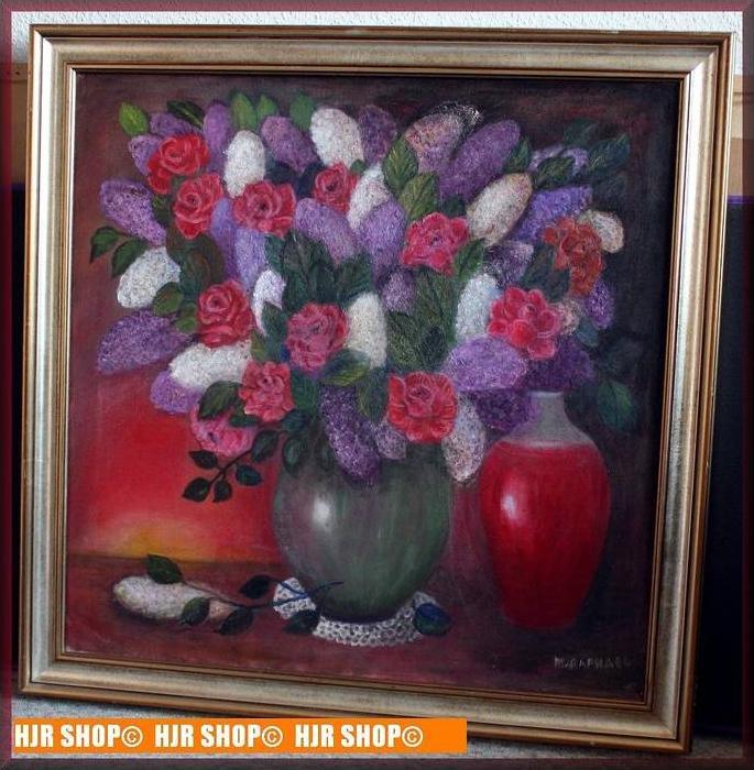 Stilleben , Blumen in zwei Vasen, ÖL/LW