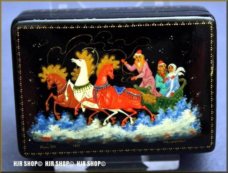 Russische Lackdose, feinste Miniaturmalerei, Troika 1983