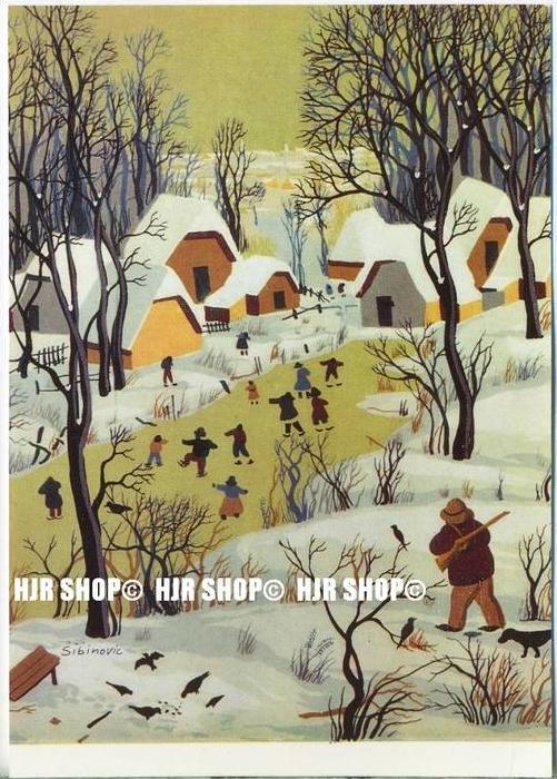 WIECHMANN – BILDKARTEN Stepa Sibinovic, Schlittschuhläufer auf dem Dorfweiher, Nr.5155