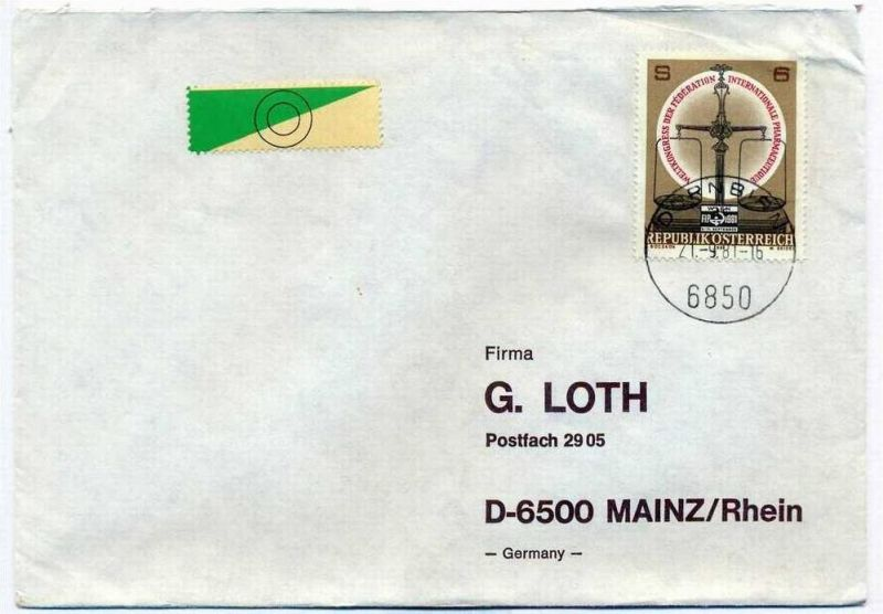 Brief, 2!.09.1981, DORNBIRN – Mainz,