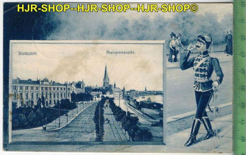 Düsseldorf, Rheinpromenade – 1910 - Verlag: J.W. Weier, Düsseldorf,   POSTKARTE-mit Frankatur, mit  Stempel, DÜSSE
