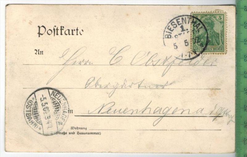 Gruss aus Berlin 1902Verlag: POST KARTEmit Frankatur  mit 2 x  Stempel, BIESENTHAL 5.5.02 nachNEUENHAGEN 5.5.02Erhaltung