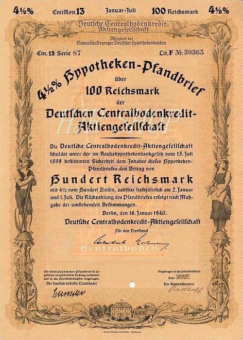 Hypotheken-Pfandbrief 100 Reichsmark