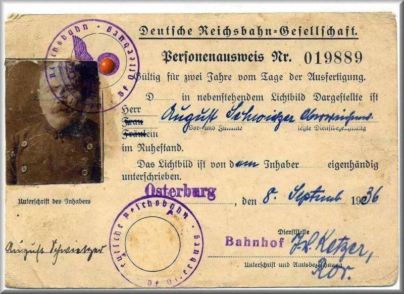 Personenausweis Nr. 019889 Deutsche Reichsbahn -Gesellschaft