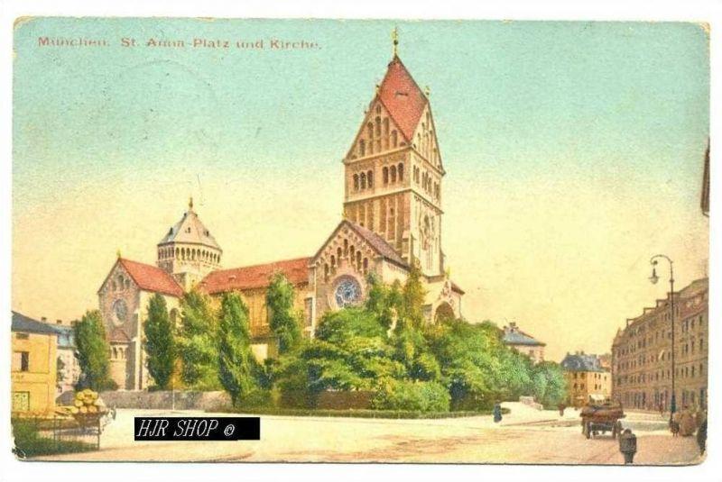 München, St. Anna-Platz und Kirche,  Gelaufen 25.07.1912