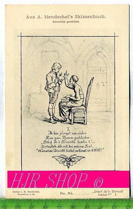 """Aus A. Hendschel`s Skizzenbuch, """"Därf ih`s Dirndl liabn?"""" I., Ungel."""