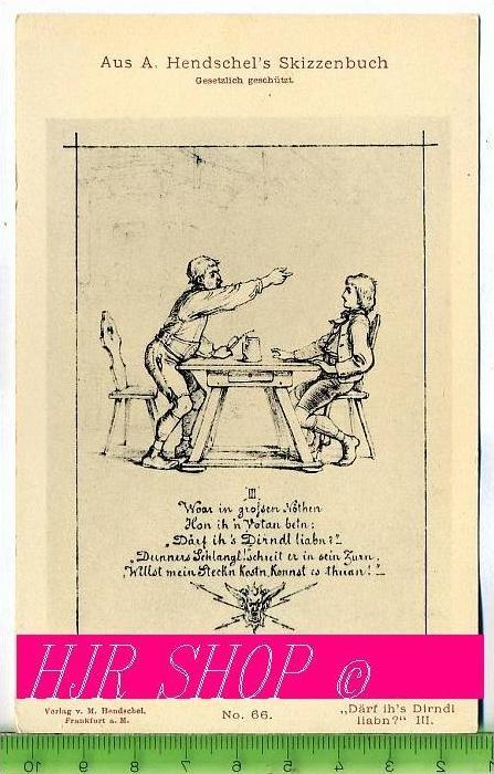 """Aus A. Hendschel`s Skizzenbuch, """"Därf ih`s Dirndl liabn?"""" III., Ungel."""