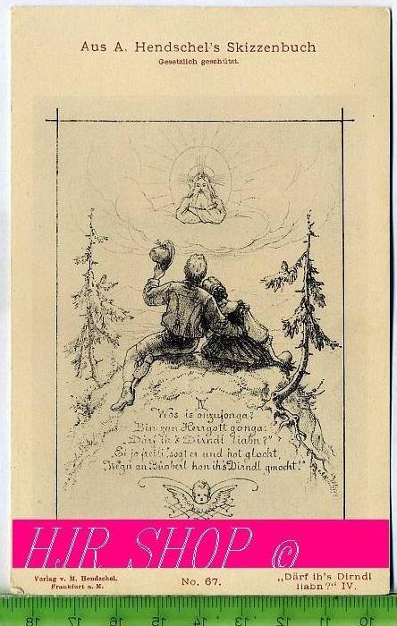 """Aus A. Hendschel`s Skizzenbuch, """"Därf ih`s Dirndl liabn?"""" IV., Ungel."""