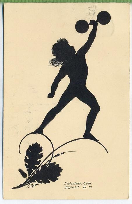Diefenbach, Göttl. Jugend I. Bl.13 um 1910/1920 Verlag: B.G. Teubner, Postkarte Mit Frankatur, mit Stempel,   Erhaltung: