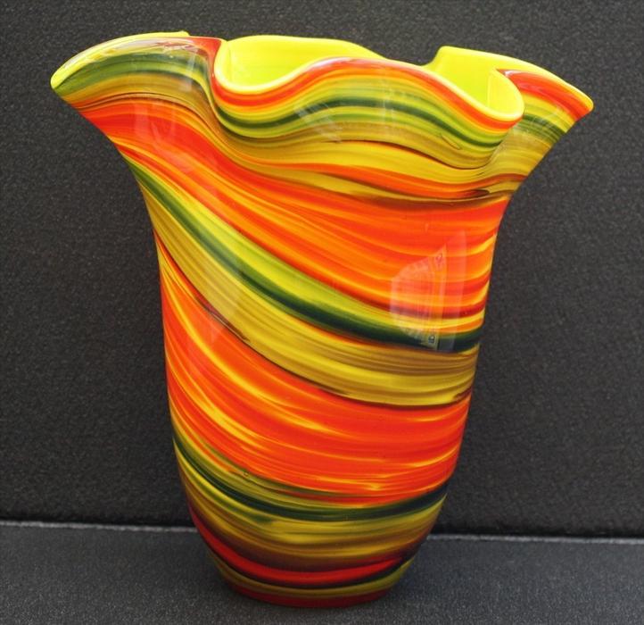 Glasvase mit polychromen Überfang 1960Marke: Murano ?Maße: Höhe 19 cmZustand: sehr Gut