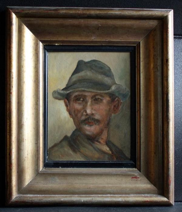 Robert Schubert, Bildnis eines Tiroler BauernNordalpiner Porträtmaler mitte 19. Jh.Öl/Hartfaser. Unten rechts signiertMa