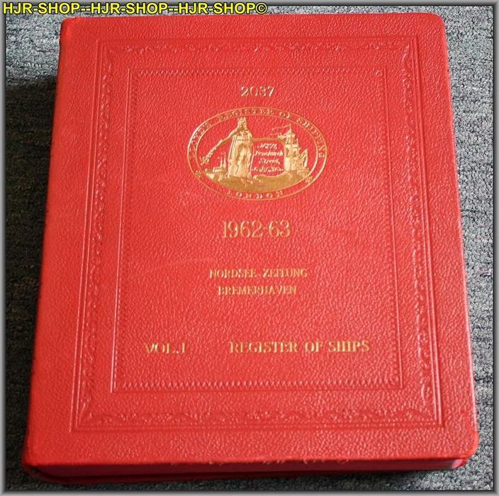 LLOYDS REGISTER OF SHIPPINGREGISTER BOOCK 1962-6371, FENCHURCH STREET, LONDON, E. C.3, ENGLANDFormat 4*, Leder gebunden,