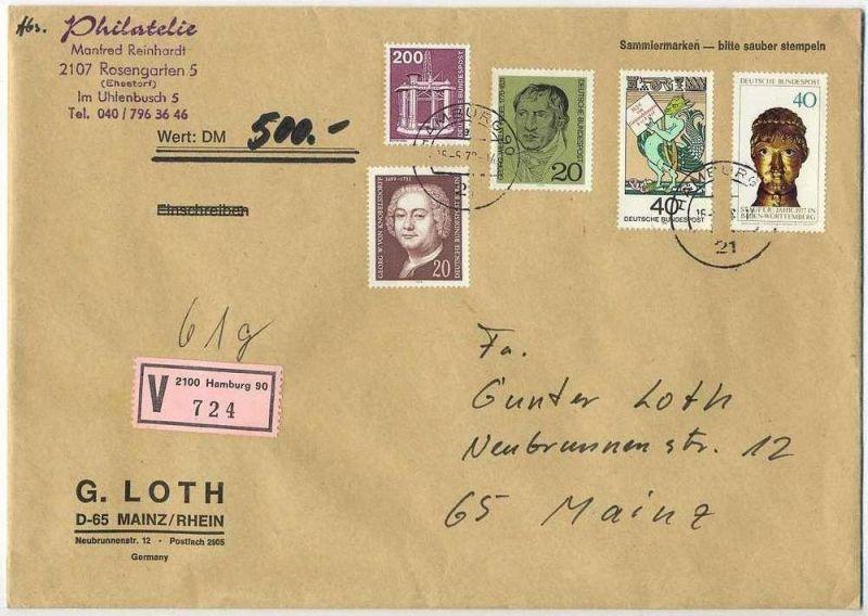 Wert-Brief, 16.06.1979, HAMBURG – MAINZ,