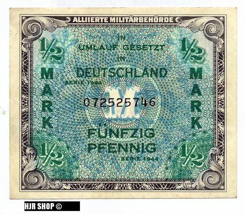 Deutschland unter alliierter Besetzung 1945-1948,Rosenberg 200a. 1/2 Mark 1944