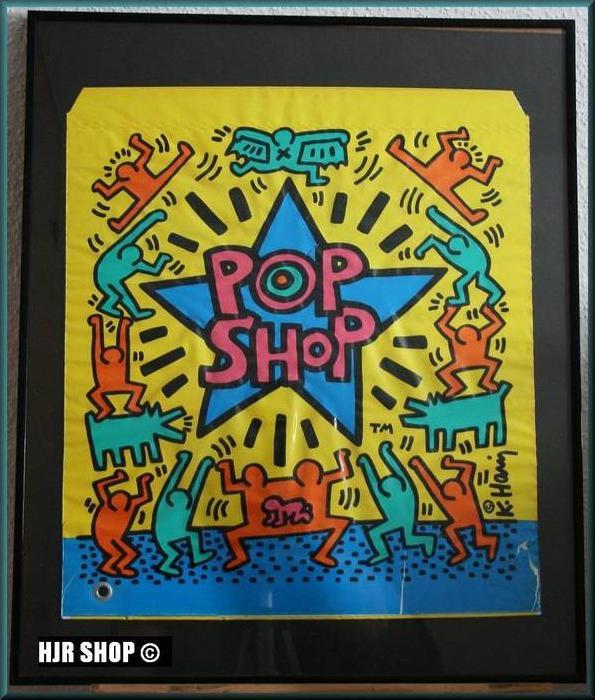 Keith Haring, Pop Shop Blastic Bag, gerahmt,  Keith Haring, 1958 - N.Y. - 1990, Pop Shop,