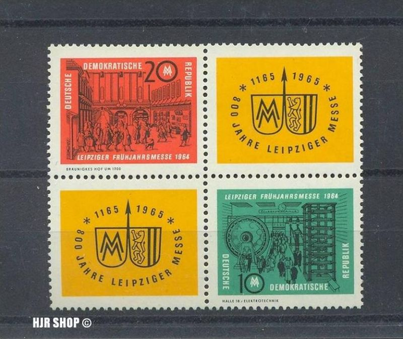 1964, 26. Febr. Leipziger Frühjahrsmesse, 1012,1013 **, Viererblock, Zustand: sehr Gut
