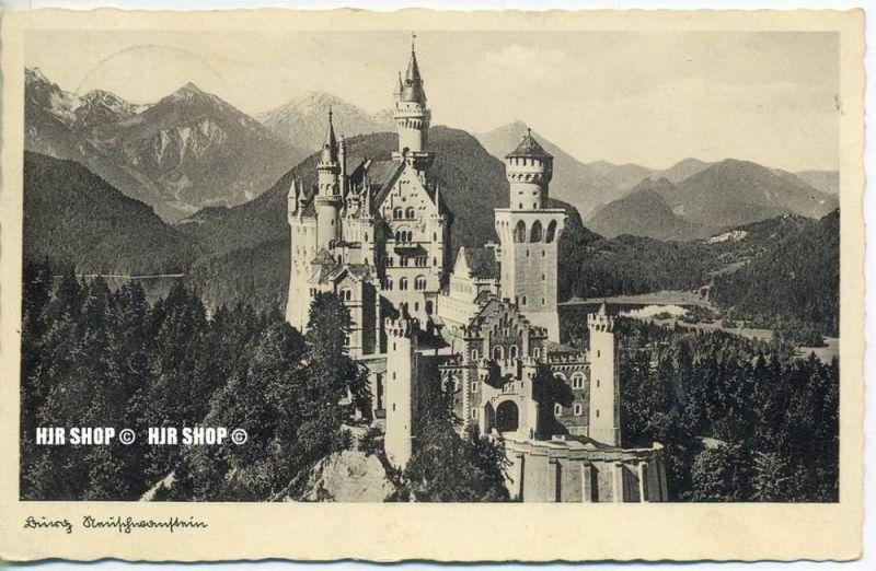 """um 1930/1940 Ansichtskarte,  """"Neuschwanstein"""" mit Frankatur"""