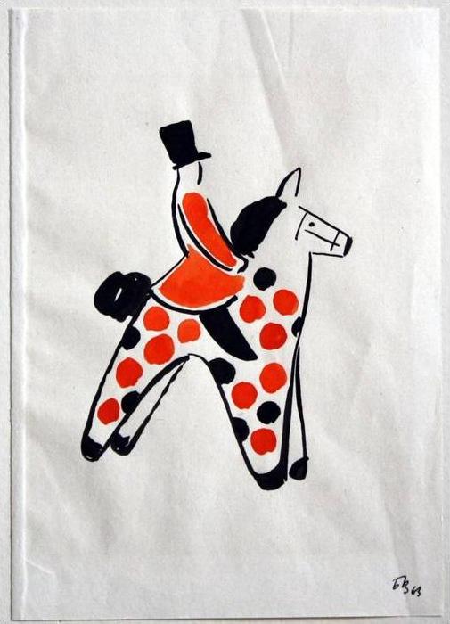 Spielzeugreiter, 1963 Tuschpinselzeichnung in Schwarz und Rot