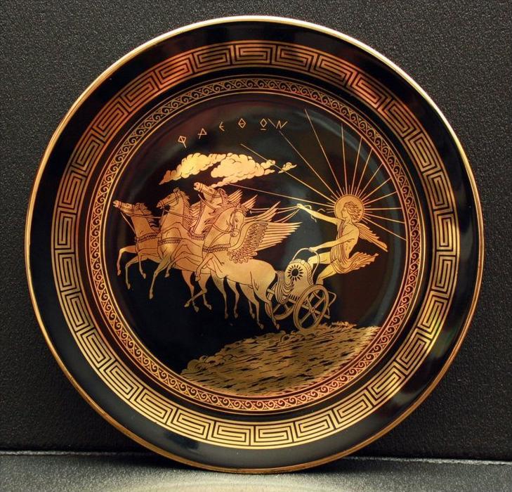 Zierteller Griechenland, Porzellan Marke: unbekannt Im Spiegel Ikarus  Maße:  Durchmesser 24,5 cm Zustand: Gut
