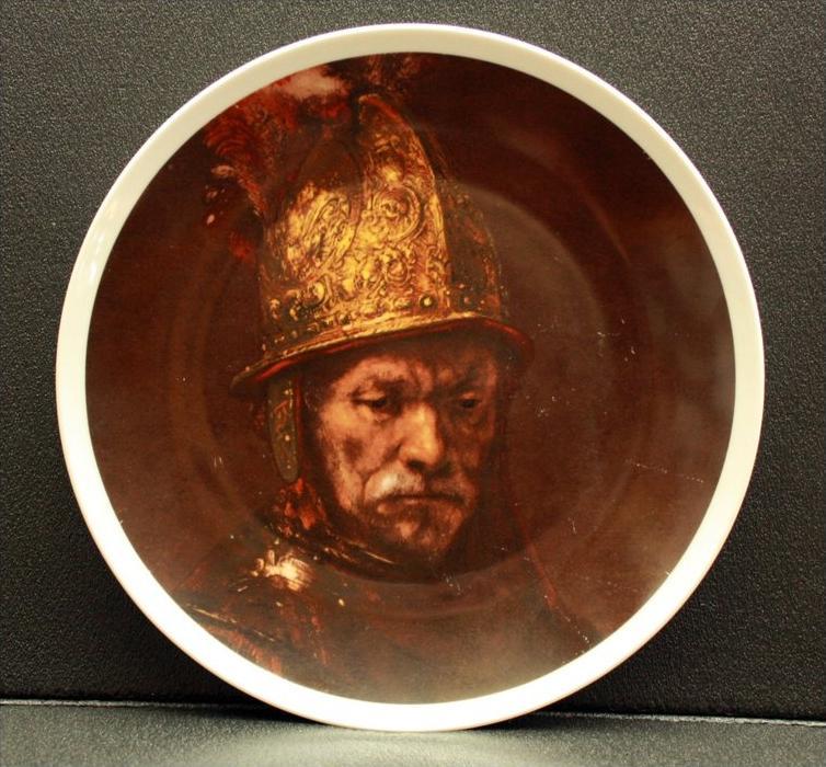 Ziertelle Deutschland, Porzellan Marke: Seltmann Weiden Im Der Mann mit dem Goldhelm  Maße:  Durchmesser 26,5 cm Zustand