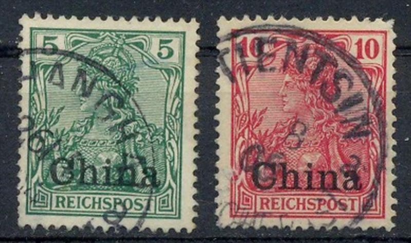 1901,Freimarken 5+10 Pf mit Bedr.-Aufdruck MiNr. 16+17 Gest.   Zustand: I-II