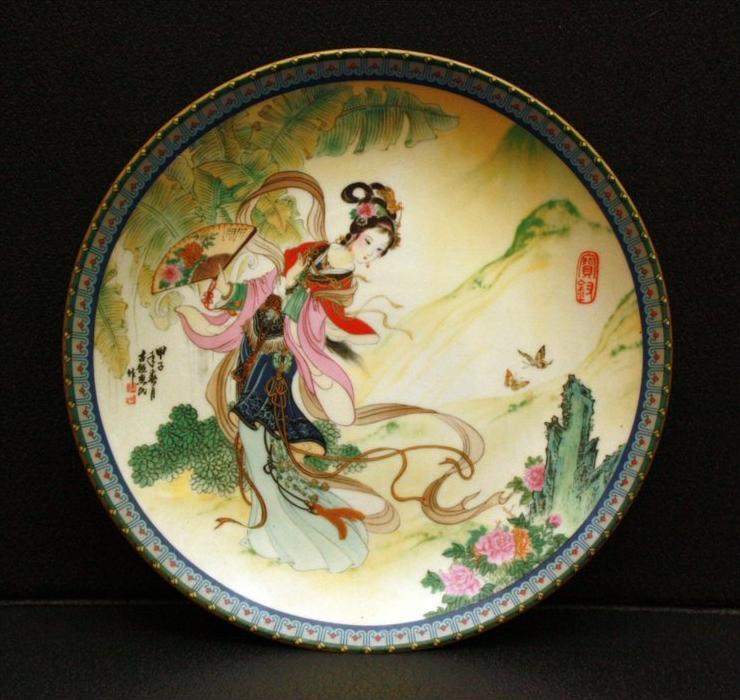Sammelteller, China, Volksrepublik Kaiserliche Porzellanfabrik Ching-te Chen Die schönen der roten Kammer Künstler: Zhao