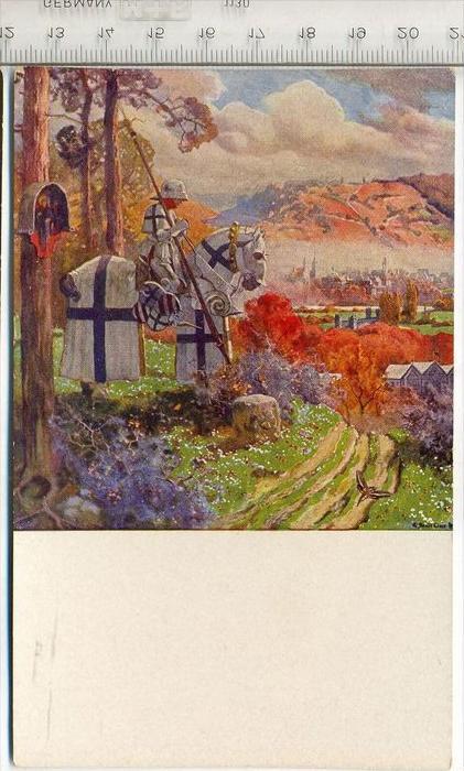 Verein für Bad Mergentheim,   Gemälde mit Reiter, Postkarte Karte wird in Klarsichthülle verschickt.(M)