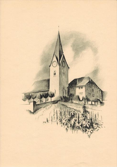 Kirche und Pfarrhaus in Höngg Original-Lithographie von Otto Baumberger Blattgröße 30,5 cm x 22,4 cm, Nummer V Zustand: